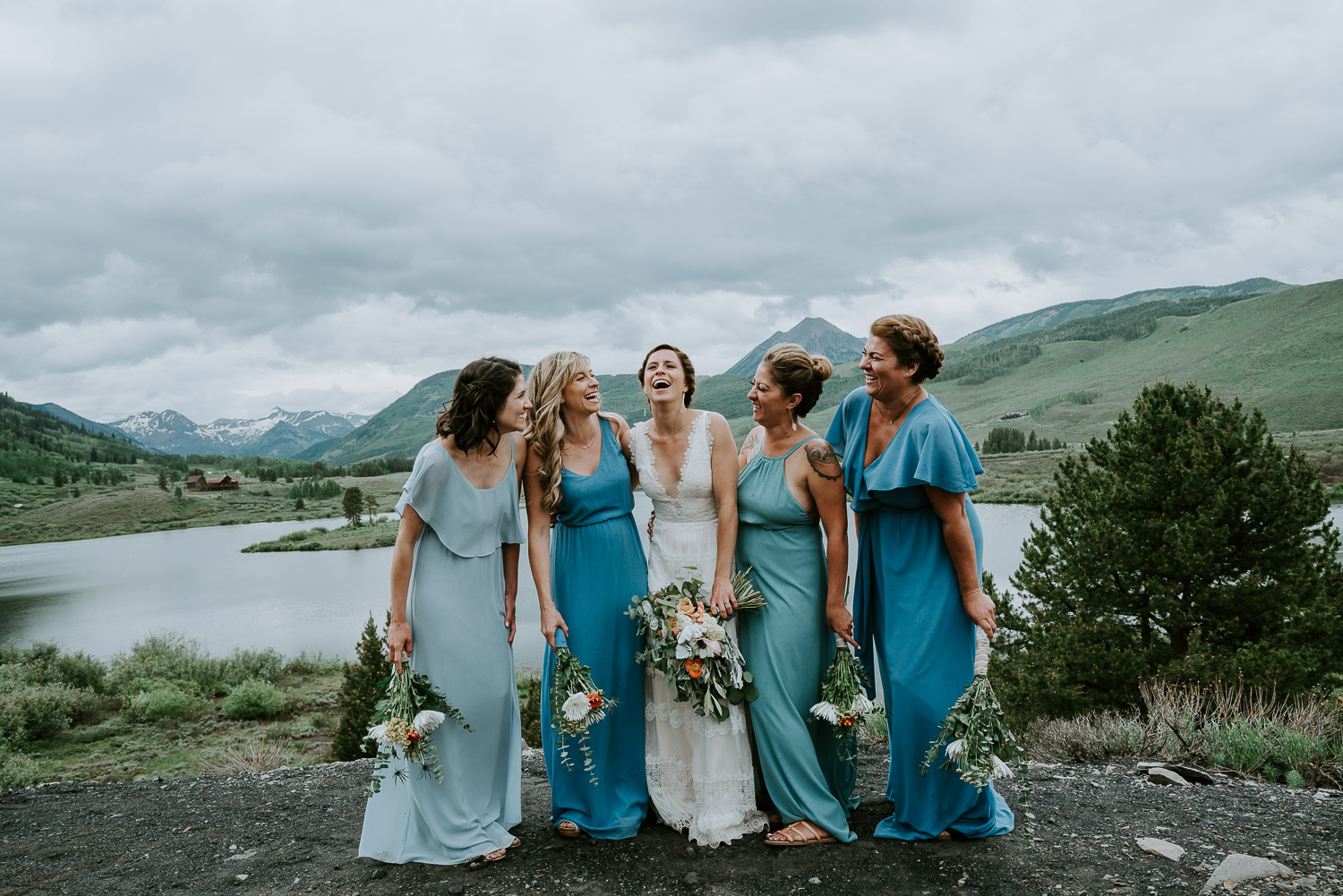 Colorado Wedding Photography, Intimate Wedding, Colorado elopement photography, crested butte wedding, bridesmaids