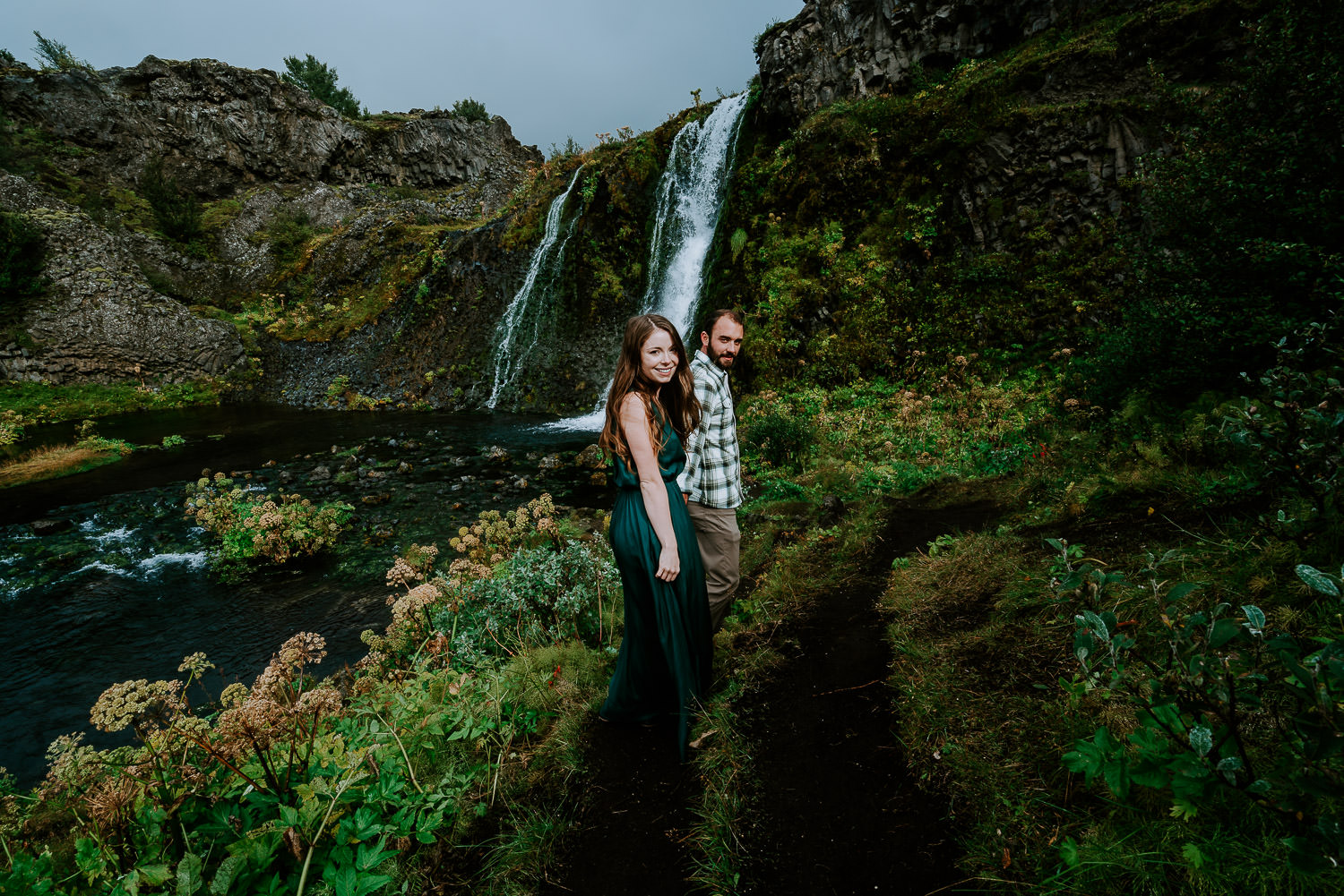 adventurous photoshoot in Iceland, Iceland Engagement Photography, Iceland Elopement Photography, Iceland Wedding, Iceland Elopement Photographer, waterfalls, highlands