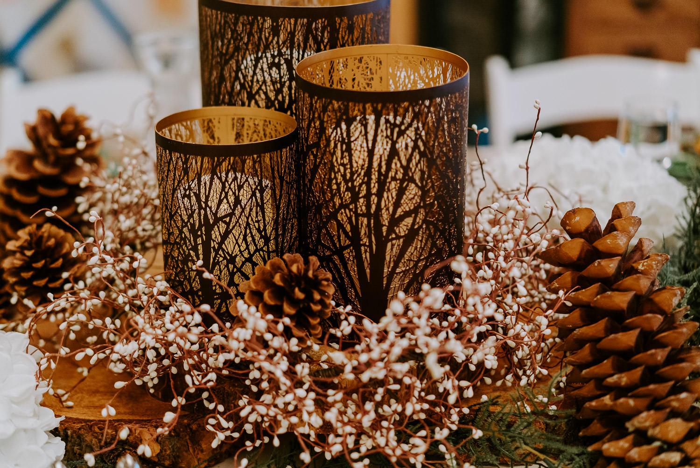 woodsy wedding ceremony details