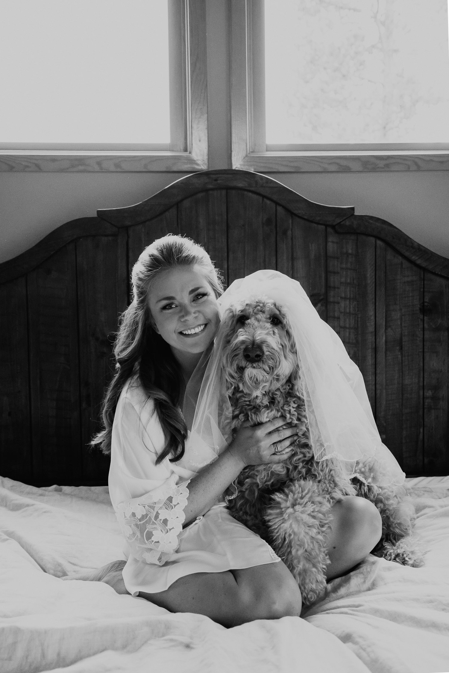 bride with dog in vail